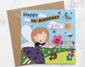 Fairy Birthday Card, Girls Fairy Birthday Card, Fairy Card, Kids Birthday Card, Little Girls Birthday Card, Fairy Birthday Card for Girls