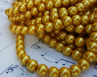 Glass Pearl Beads - 42 pc - Gold Pearls - 8mm - Gold #02 - Round - Dyed