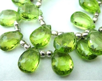 PERIDOT Briolettes, Faceted Pear Brios, Brides - August Birthstone, 1 Matched Pair,  Wholesale Beads, LUXE A-AA, 9x7mm- 8x7mm,