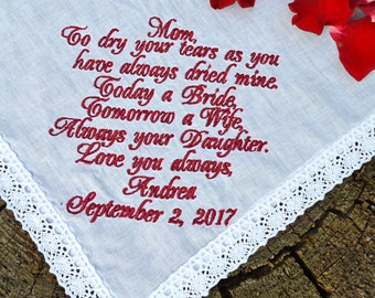 Wedding gift for mom from daughter, Mother of the bride gift Bridal handkerchief Custom hankerchief, Personalized