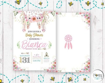 Dream catcher, flowers, babyshower, girl, feathers, pink, new born, mother to be, digital, invitation, party, celebration.