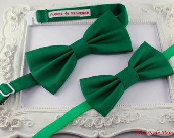 Set of 2 Emerald Green satin - man bow tie fabric and child / baby