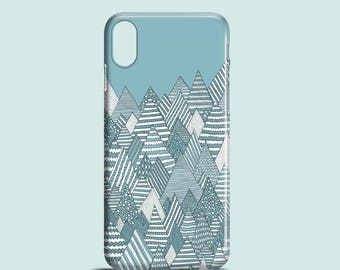 Winter Forest, mountains iPhone X case, iPhone 8, iPhone 7, iPhone 7 Plus, iPhone SE, iPhone 6, iPhone 5S, iPhone 5, illustration teal case