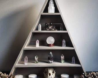 Crystal shelf, triangle shelf, triangle, essential oil, shelves, chakra, reiki, feng shui, home decor, wooden, wood, crystal display shelf