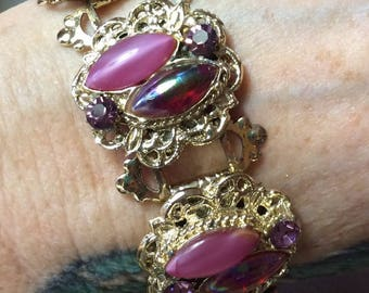 Thermoset Bracelet Bright Pink Purple Irredescence Stones and Pink Rhinestones Set in Gold