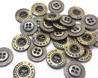 Round Metal Cover Sewing Buttons, Gold 4 Holes Sewing Buttons, Gun Metal Fashion Buttons for Sewing