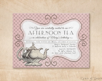 Printable Tea Party Birthday Invitation - 4.25 x 5.5, 4x6, 5x7 - Antique Teapot - Pink Grey Gray Ivory Brown - Victorian Vintage Cottage