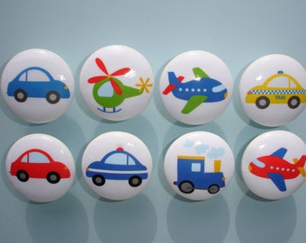 Set of 8 Boys Trains Planes and Cars Transportation Drawer Knobs