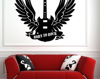 Wall decal music wall sticker Guitar vinyl Born to rock Studio living room wall decoration Rock'n Roll 60 colors