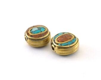 Beads 2 Turquoise Coral Tibetan