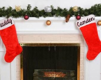 Christmas Stocking- Traditional stocking- Personalized stockings- Personalized Christmas decor- Red and white stocking- Custom stocking-Xmas