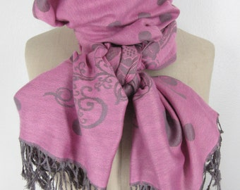 Pink gray scarf Pashmina neck wrap polka dot floral fringed shawl simple accessory boho chic neck scarf gift idea classic mod flower scarf