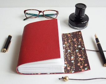 Blossom Chiyogami Journal, Japanese Journal, Leather Journal, Hand bound Journal, Leather Notebook, Japanese gift, Blank Book, red journal