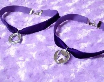 Purple Velvet ZODIAC SIGN Choker -Choose Aries, Pisces, Aquarius, Sagittarius, Virgo, Capricorn, Taurus, Scorpio, Cancer, Leo, Libra, Gemini