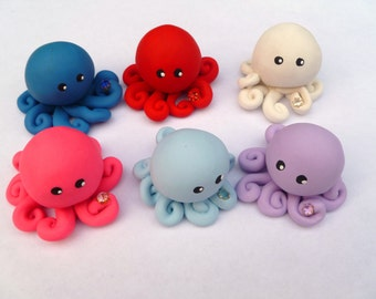 Birthstone  Little Octopus Mini Marble Friend Choose A  Birthday Month with Faux Gemstone