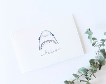 Funny Greeting Card - Thinking of You - Hello Shark