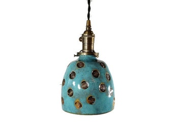 Lighting - Hanging Pendant Lamp - custom lighting - Home decor lighting - turquoise - unique lighting - Hanging lamp - pottery - home decor