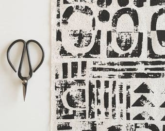 Collage - hand screen printed fabric for patchwork & sewing in black, copper, soft pink, white and soft grey, single panels