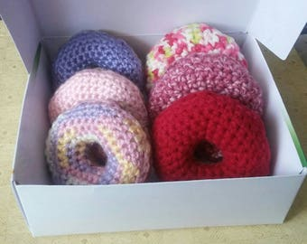 Kawaii Crochet Half Dozen Play Food Doughnuts Great for Princess Tea Parties