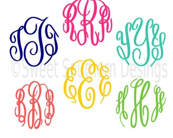 Master Circle Monogram Font Script Cursive font SVG DXF EPS instant download design for cricut or silhouette