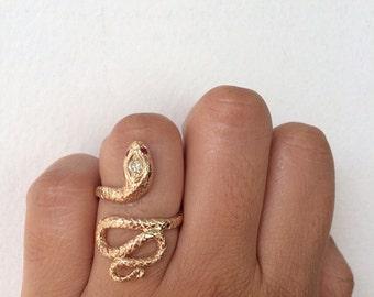 Gold Snake Ring, Snake Ring, Diamond Snake, Vintage Snake Ring, Antique Snake Ring, Unique Engagement Ring, Ruby Eyes, Snake Jewelry, Snake