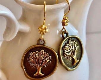 Tree of Life Earrings- Wax Seal Style Earrings
