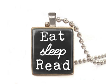 Eat Sleep Read Necklace | Necklace for Readers | Read Necklace | Read Charm | Book Necklace Charm | Teacher Necklace | Gift for Librarian