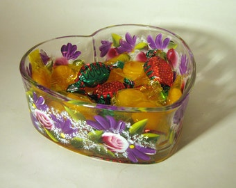 Hand Painted Roses and Daisies Heart Shaped Candy Dish