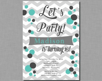 Teen Girl Birthday Invitation teen birthday invitation tween birthday invitation teen invitation tween invitation FB01 Printable or Printed