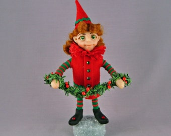 Christmas Elf Girl Art Doll