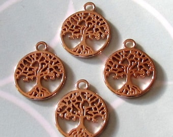 Small Tree Of Life Charm, Rose Gold, 4 Pieces, RG37