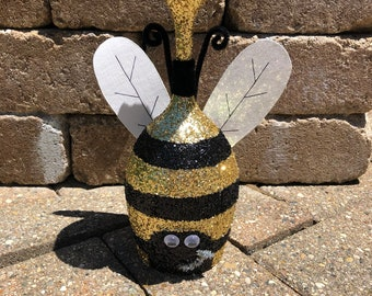 Glitter Bumble Bee Wine Glass/Tea Light Holder