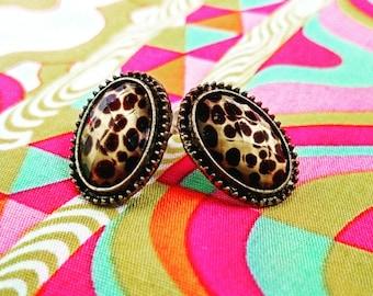 SALE Vintage Leopard Elliptic Earrings