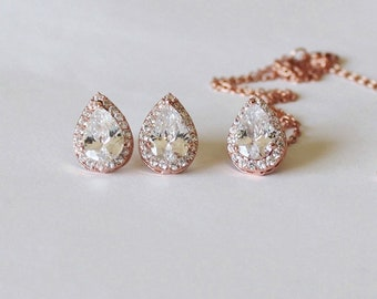 Bridal gift set, Tear drop CZ necklace earrings set, Bridesmaids gift, Rose gold Cubic Zirconia set, Bridal party gifts, Pear CZ jewelry
