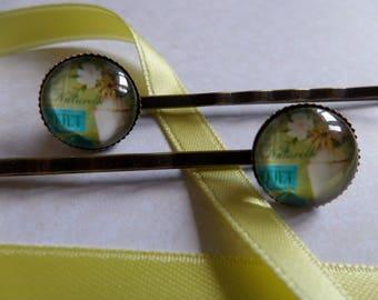 Glass cabochon Barrettes * natural bouquet * 12 mm