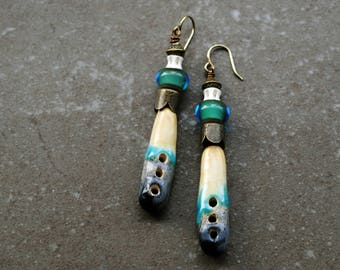 Artisan Ceramic Earrings, Handmade earrings, Primitive earrings, Gypsy Earrings, Bohemian earrings, boho jewelry, rustic earrings, Lampwork