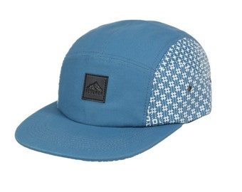 Indigo pattern 5 panel cap