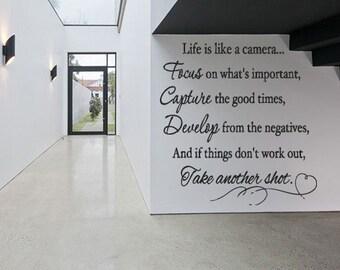 Wall Decal Sticker Bedroom life camera quote lettering photo studio decor 300b