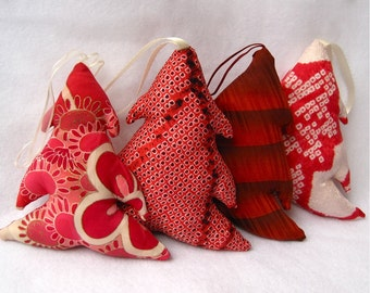 RESERVED eco friendly kimono silk tree and door ornament / upcycled vintage japanese christmas decoration - LAST ONE