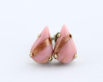 Soft pink earrings, pink teardrop earrings, flowergirl earrings, pale pink stud earrings, pink post earrings, pink wedding, flower girl