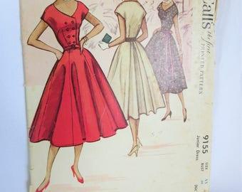 Vintage Dress Pattern, Vintage Pattern, Vintage McCalls, 50s Dress Pattern, Button Up Dress, Vintage, Circle Skirt Pattern, Mccalls 9155