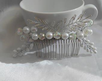 wedding hair comb pearl hair comb  iridescent & pearl hair comb prom hair comb bridal hair comb wedding hair piece