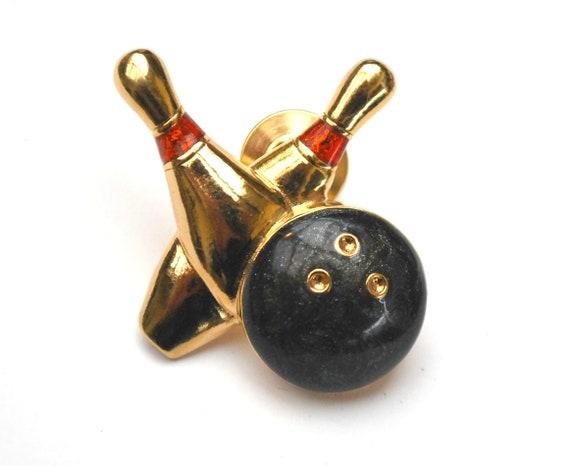Bowling  Tack Pin Signed Avon enamel  bowing pin  gold bowling ball bowling team tie tack lapel pin