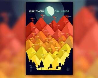 Adirondack Fire Tower Challenge • ADK / Catskills NY Print • Adirondacks Hiking Poster • New York Mountain • Wall Art Graphic Design
