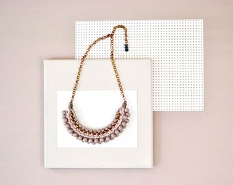Dusty Rose Necklace, Beaded Bib, Tribal Necklace, Fabric Necklace, Crochet Necklace, Solid Color Necklace, Statement Necklace