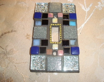 MOSAIC Light Switch Plate -  Single Switch, Wall Plate, Home Decor,Silver, Gray, Dusty Pink, Dark blue, Black