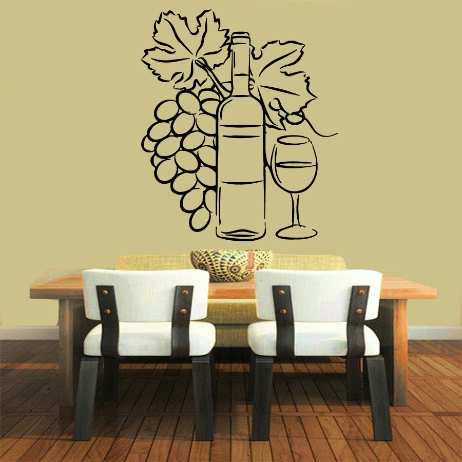 Grapevine Wall Decals Grapes Floral Bottle Glass of Wine Cafe