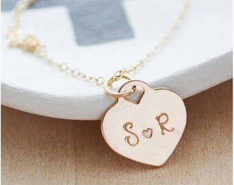 Gold Initials Necklace - Heart Initial Necklace - Personalized Gift for Girlfriend - Gold Filled Personalized Jewelry - Layered Necklace