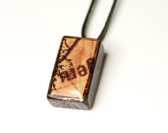 Stamp Design Wooden Pendant