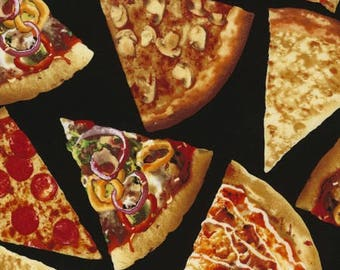 Pizza Fabric / Foodie Pizza Yardage / Food Fabric / Pizza Slices Fabric/ Timeless Treasures c5640  / by the yard and Fat Quarters